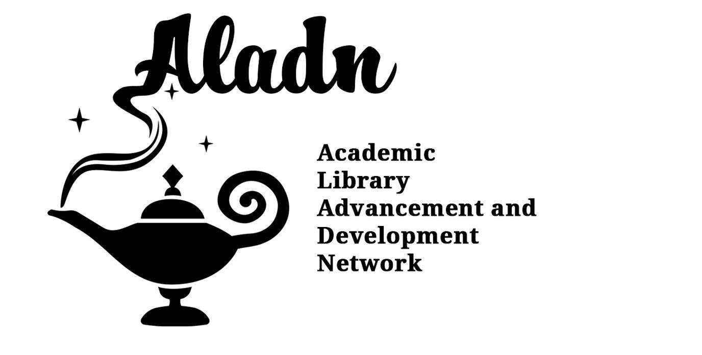 Aladn logo image - a magic lamp has smoke which says 'Aladn'